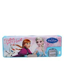 Disney Frozen Heart 1 Button Pencil Box - Blue