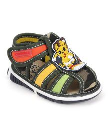 Cute Walk by Babyhug Sandals Velcro Closure Cat Face Patch - Olive Green