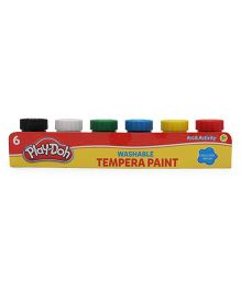 Play-Doh Washable Tempera Paint with Brush Pack Of 6 - Multi Color