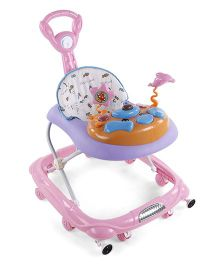 Musical Baby Walker With Push Handle - Pink Purple