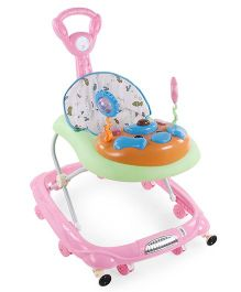 Musical Baby Walker With Push Handle Fish Print - Pink & Green