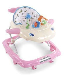 Musical Baby Walker With Play Tray Star Fish Design Print Seat - Pink & Cream