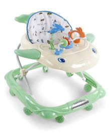 Musical Baby Walker With Play Tray Star Fish Design Print Seat - Green & Cream