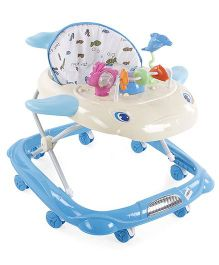 Musical Baby Walker With Play Tray Fish Design - Blue & Cream