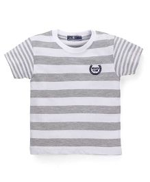 Smarty Half Sleeves Striped T-Shirt - White Grey