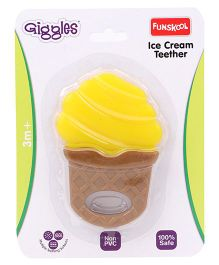 Giggles Funskool Ice Cream Teether - Yellow & Coffee Brown
