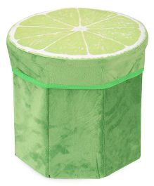 Dimpy Stuff Kids Foldable Lemon Shaped Storage Box Cum Stool - Green