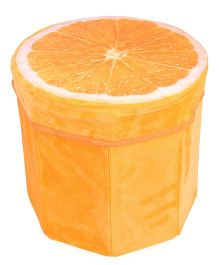 Dimpy Stuff Kids Foldable Orange Shaped Storage Box Cum Stool - Orange