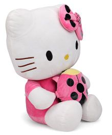 Dimpy Stuff Comfy Super Soft Kitty With Bee Pink And White - 45 cm