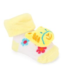 Cute Walk By Babyhug Sock Shoes Kitty Motif - Yellow White