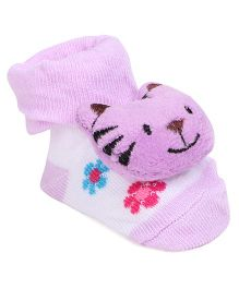 Cute Walk By Babyhug Sock Shoes Tiger Motif - Purple WHite