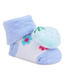 Cute Walk By Babyhug Sock Shoes Strawberry Motif - Blue White