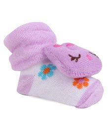 Cute Walk By Babyhug Sock Shoes Kitty Motif - White Purple