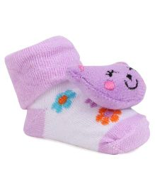 Cute Walk By Babyhug Sock Shoes Bear Face Motif - Purple