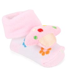 Cute Walk By Babyhug Sock Shoes Floral Design & Ship Motif - Pink White