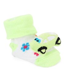 Cute Walk By Babyhug Sock Shoes Kitty Motif - Green White