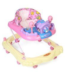 Toyzone Baby Walker Star Print - Yellow & Pink