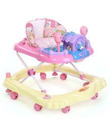 Toyzone Baby Walker Elephant Print - Yellow & Pink