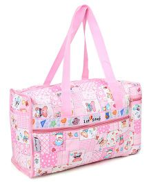 1st Step Diaper Bag With Bottle Warmer Teddy Print - Pink