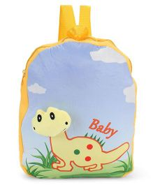 Dimpy Stuff Soft Nursery Bag With Dino Print Yellow - 13 Inches