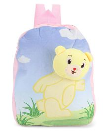 Dimpy Stuff Soft Nursery Bag With Teddy Print Pink - 13 Inches