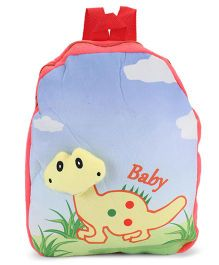 Dimpy Stuff Soft Nursery Bag With Dino Print Red - 13 Inches