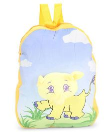 Dimpy Stuff Soft Nursery Bag With Elephant Print Yellow - 13 Inches