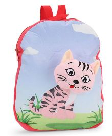 Dimpy Stuff Soft Nursery Bag With Cat Print Red - 13 Inches