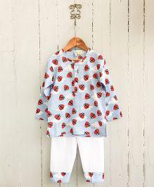 Frangipani Kids Ladybird & Cloud Print Nightsuit Set - White Blue & Red
