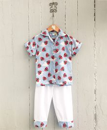 Frangipani Kids Collar Ladybird Printed Nightsuit Set - Blue & Red