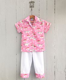Frangipani Kids Unicorn Printed Nightsuit Set - Pink