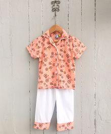 Frangipani Kids Collar Bicycle Printed Nightsuit Set - Orange