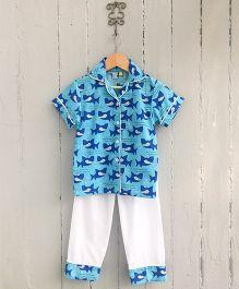 Frangipani Kids Shark Printed Nightsuit Set - Blue