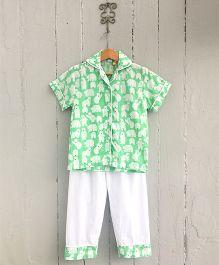 Frangipani Kids Polar Printed Collar Nightsuit Set - Green