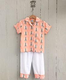 Frangipani Kids Penguin Collar Night Suit Set - Orange