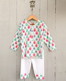 Frangipani Kids Dancing Dolls Nightsuit Set - White Pink & Blue