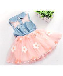Tickles 4 U Denim Frill Dress - Peach
