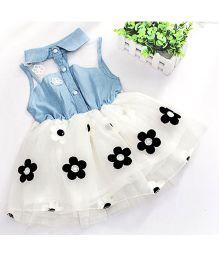 Tickles 4 U Denim Frill Dress - Blue & White