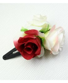 Asthetika Rose Flower Tic Tac Hair Clip - Red