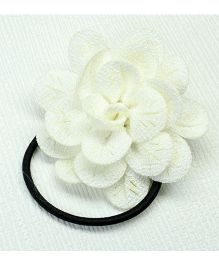 Asthetika Fabric Flower Hair Rubber Band - White