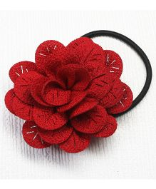 Asthetika Fabric Flower Hair Rubber Band - Red