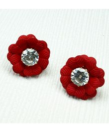 Asthetika Flower Diamond Stone Stud Earrings - Red