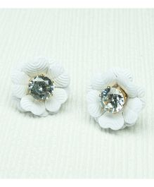 Asthetika Flower Diamond Stone Stud Earrings - White