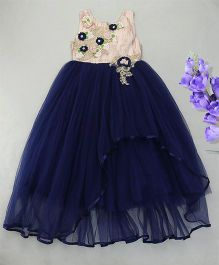 Eiora Elegant Party Wear Gown With Floral Detailing - Blue & Cream