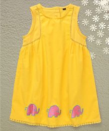 Bubblegum Laces With Elephant Prints Dress - Yellow