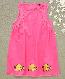 Bubblegum Laces With Elephant Prints Dress - Pink