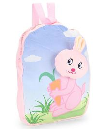 Dimpy Stuff Plush Nursery Bag With Bunny Motif Blue Pink - 13 inch