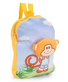 Dimpy Stuff Nursery Bag With Monkey Motif Blue Yellow - 13 inch
