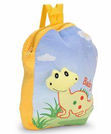 Dimpy Stuff Nursery Bag With Baby Dino Motif Blue Yellow - 13 inch