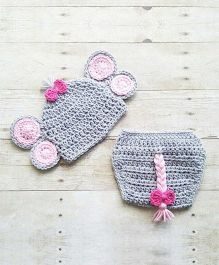 The Original Knit Elephant Crochet Photo Prop With Diaper Cover & Cap Set - Grey